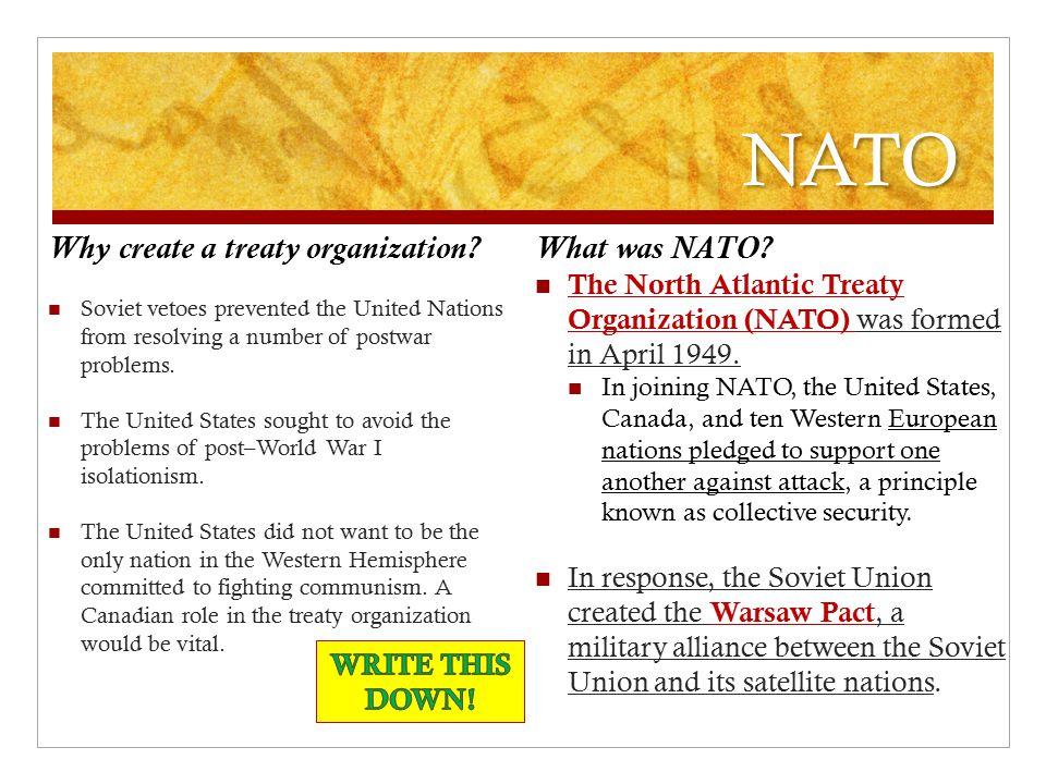 NATO Why create a treaty organization What was NATO