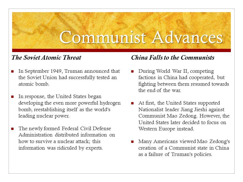 Communist Advances The Soviet Atomic Threat