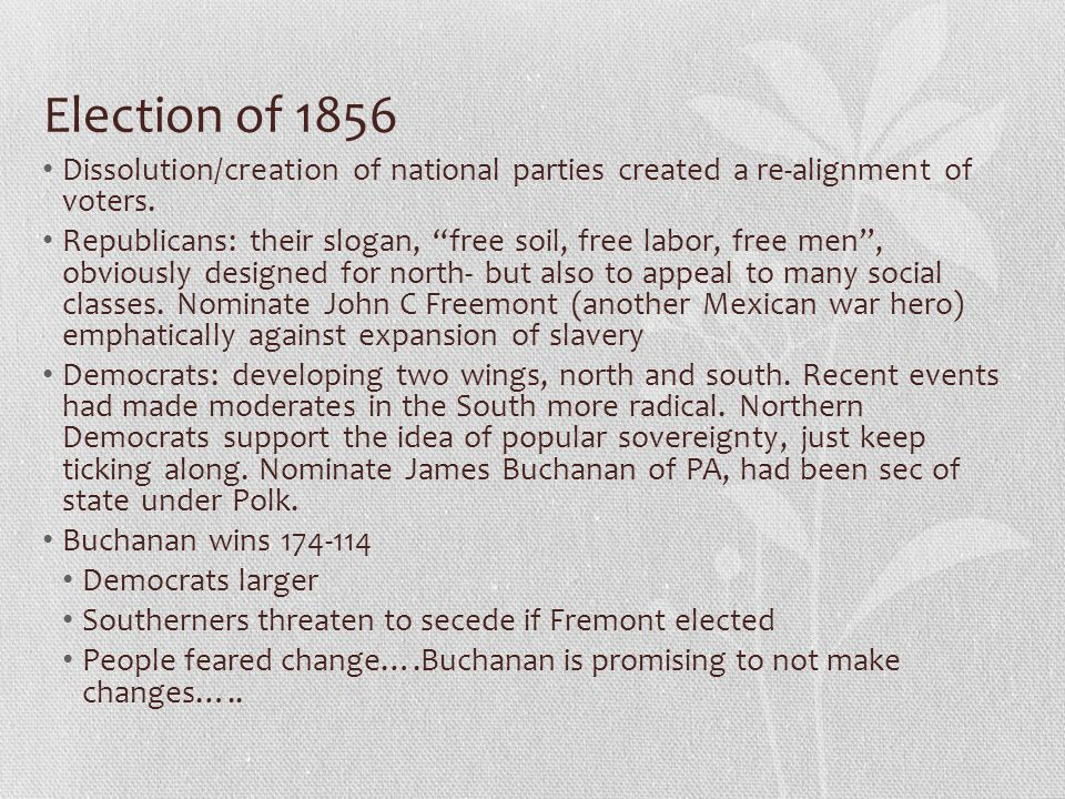 Election of 1856 Dissolution/creation of national parties created a re-alignment of voters.