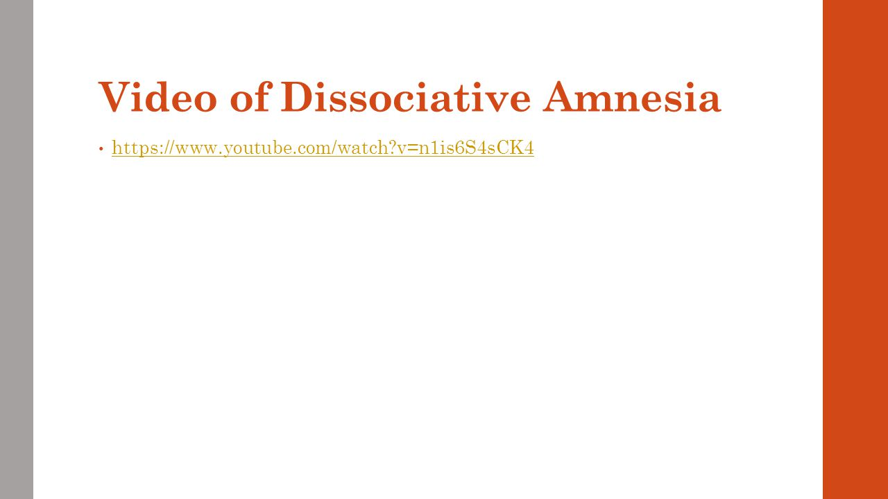 Video of Dissociative Amnesia