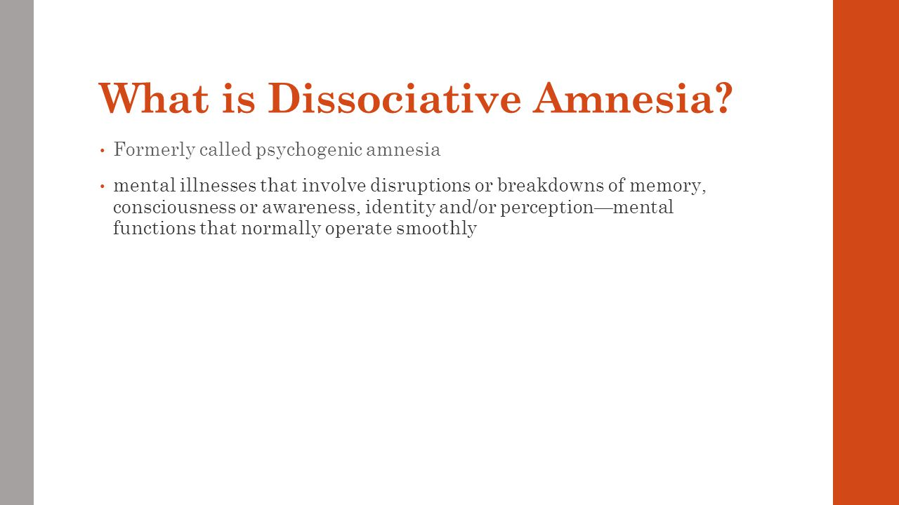What is Dissociative Amnesia