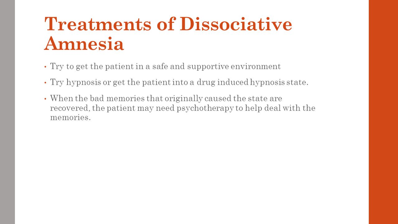 Treatments of Dissociative Amnesia