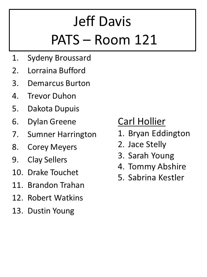 Jeff Davis PATS – Room 121 Carl Hollier Bryan Eddington Jace Stelly