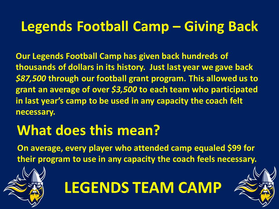 Legends Football Camp – Giving Back