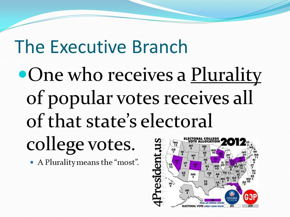 The Executive Branch One who receives a Plurality of popular votes receives all of that state's electoral college votes.