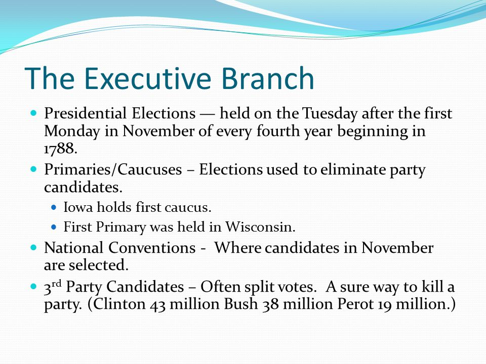 The Executive Branch Presidential Elections — held on the Tuesday after the first Monday in November of every fourth year beginning in 1788.
