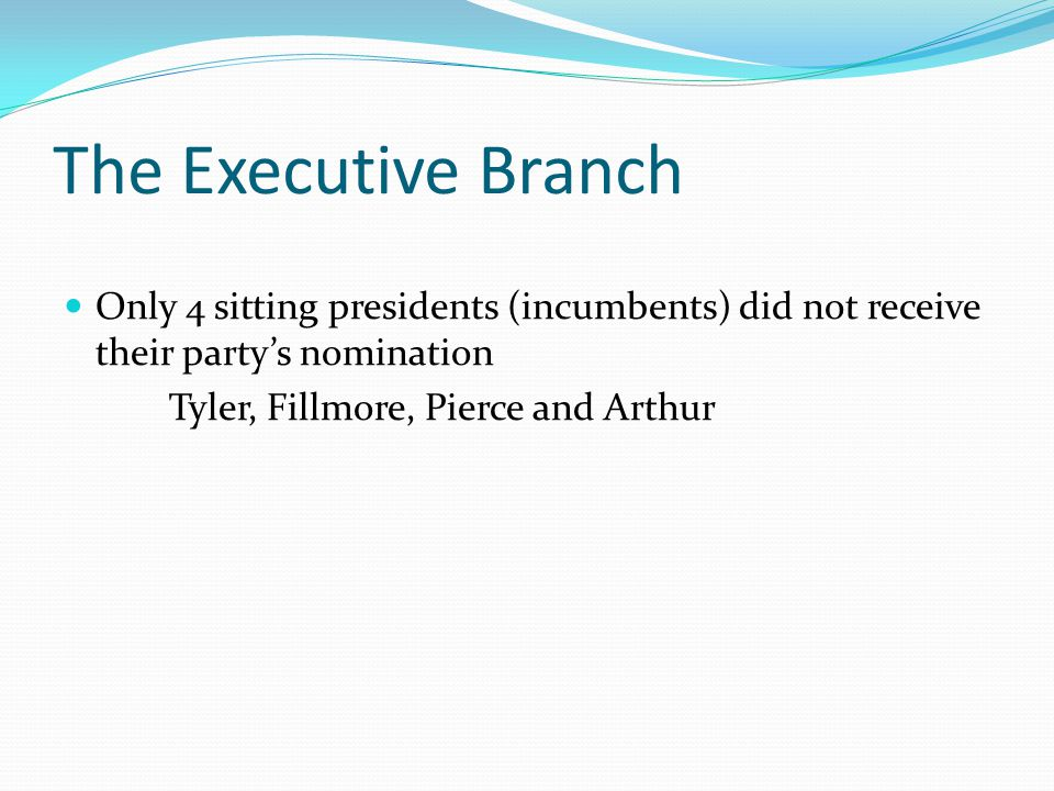 The Executive Branch Only 4 sitting presidents (incumbents) did not receive their party's nomination.