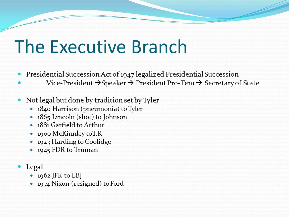 The Executive Branch Presidential Succession Act of 1947 legalized Presidential Succession.