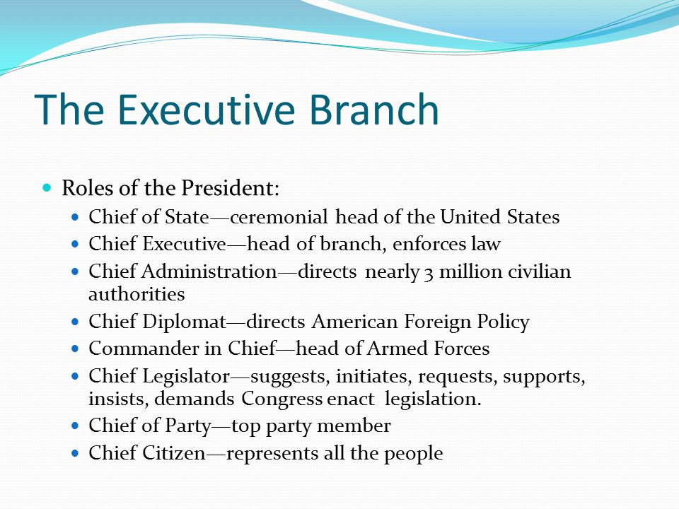 The Executive Branch Roles of the President:
