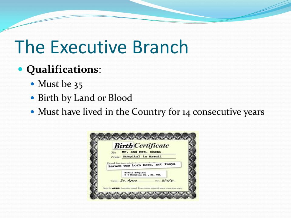 The Executive Branch Qualifications: Must be 35 Birth by Land or Blood