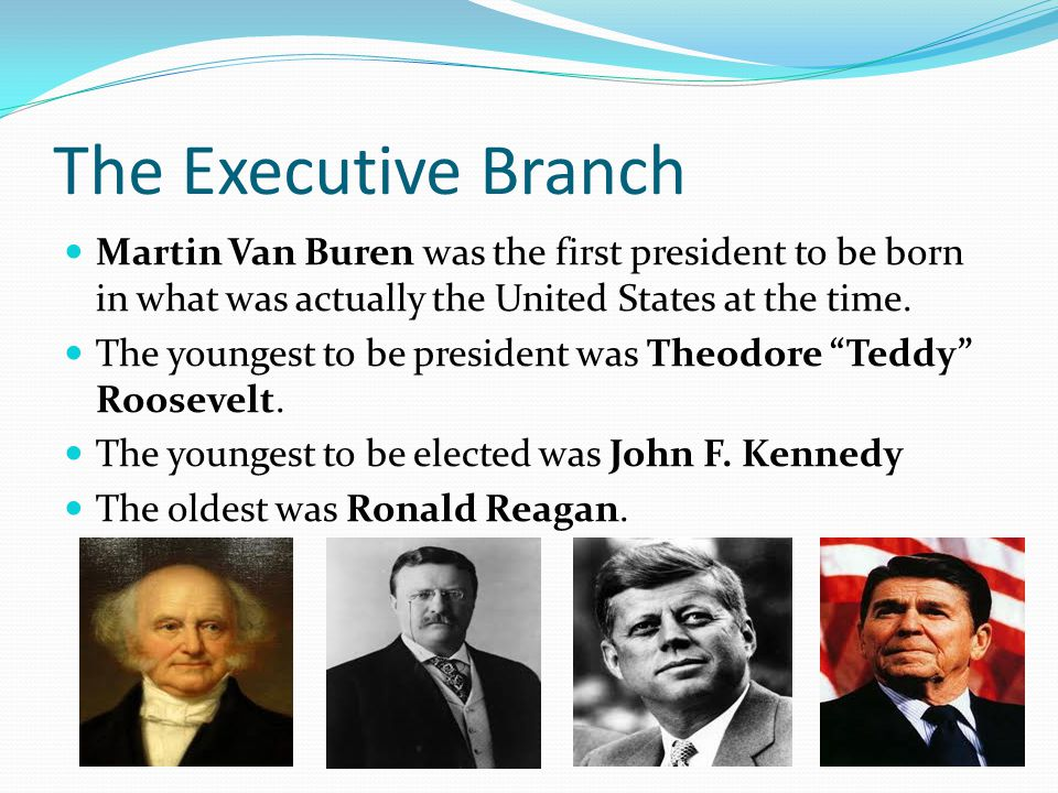 The Executive Branch Martin Van Buren was the first president to be born in what was actually the United States at the time.