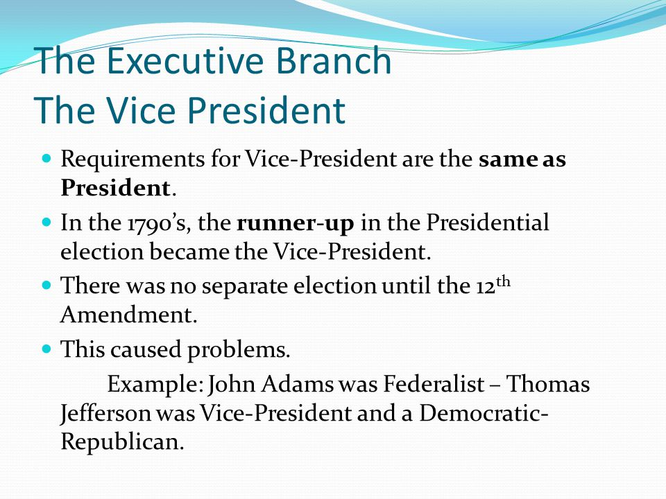 The Executive Branch The Vice President