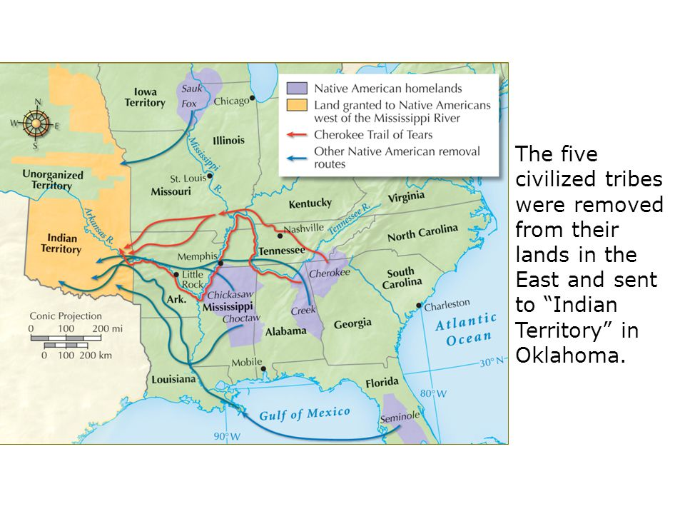 The five civilized tribes were removed from their lands in the East and sent to Indian Territory in Oklahoma.