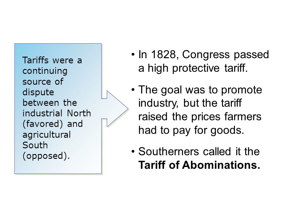 In 1828, Congress passed a high protective tariff.