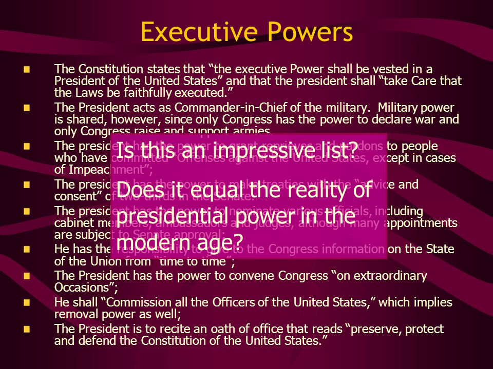 Executive Powers Is this an impressive list