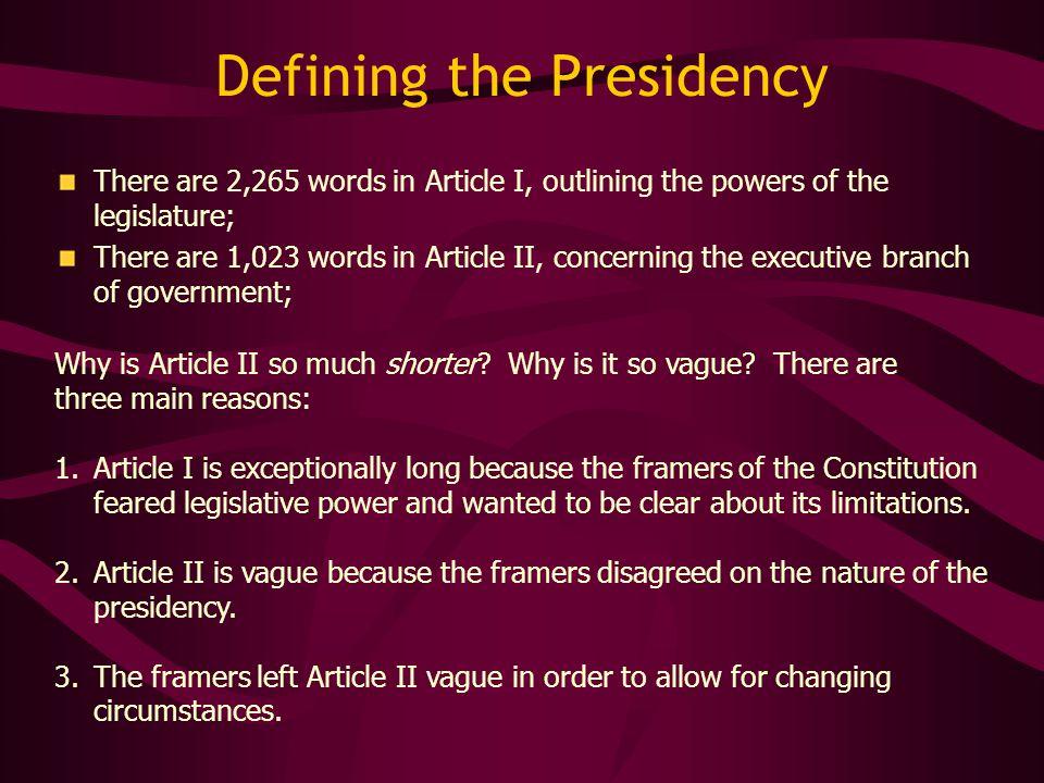 Defining the Presidency
