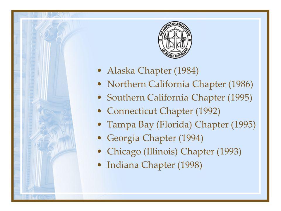 Alaska Chapter (1984) Northern California Chapter (1986) Southern California Chapter (1995) Connecticut Chapter (1992)