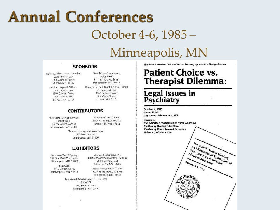 Annual Conferences October 4-6, 1985 – Minneapolis, MN