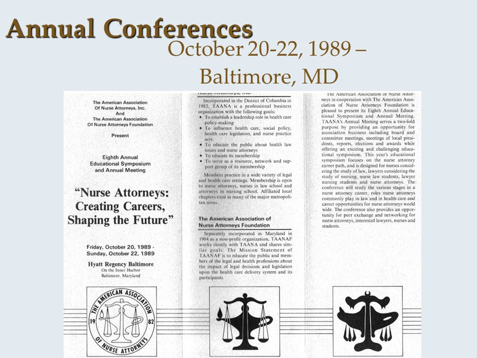 Annual Conferences October 20-22, 1989 – Baltimore, MD