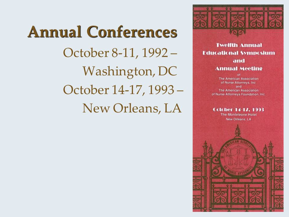 Annual Conferences October 8-11, 1992 – Washington, DC