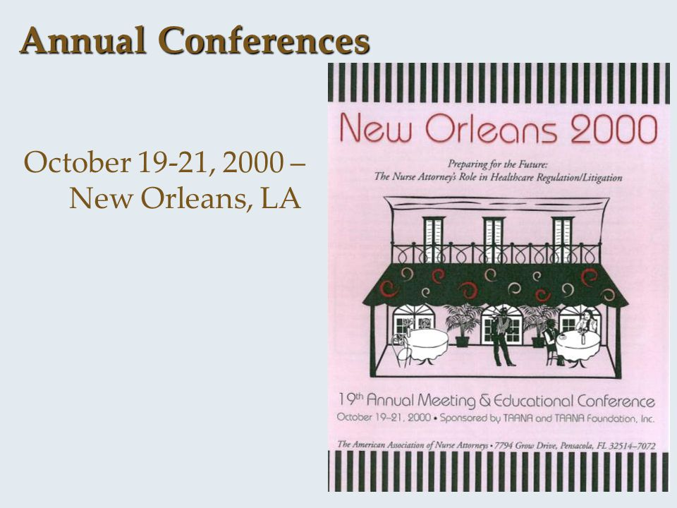Annual Conferences October 19-21, 2000 – New Orleans, LA