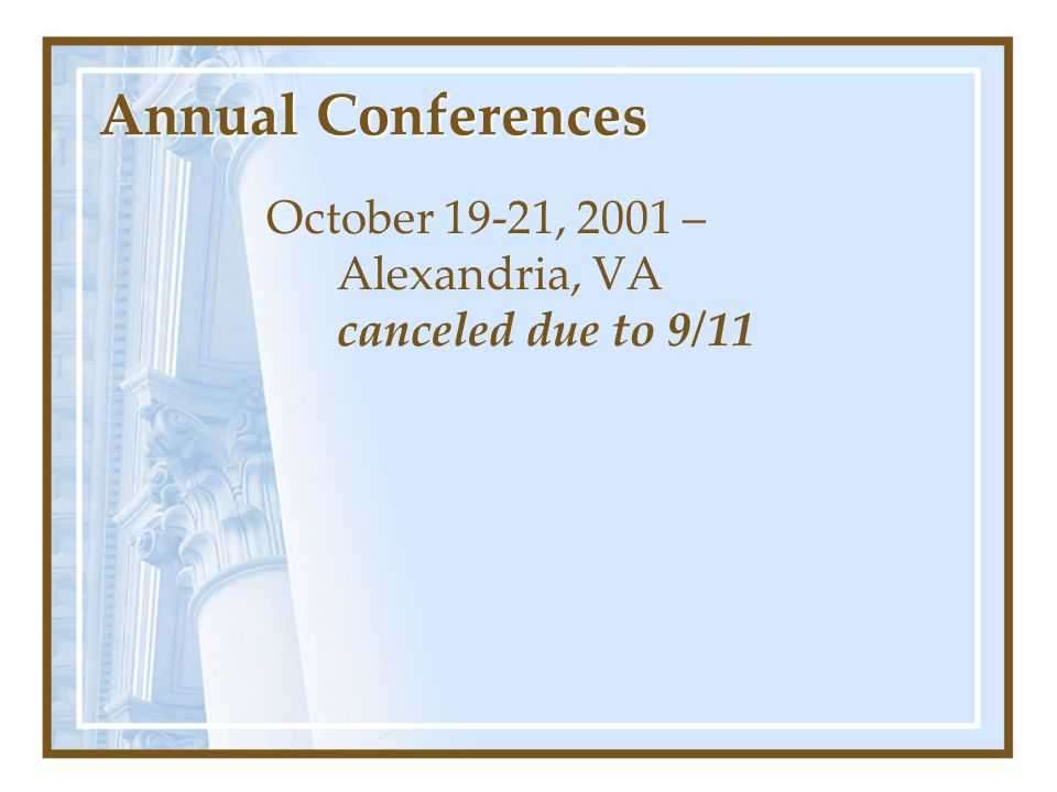 Annual Conferences October 19-21, 2001 – Alexandria, VA