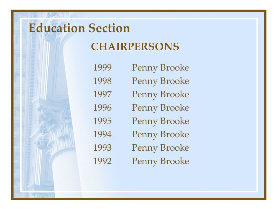 Education Section CHAIRPERSONS 1999 Penny Brooke 1998 Penny Brooke