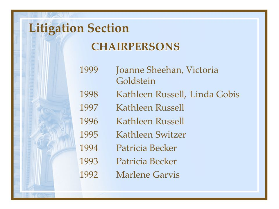 Litigation Section CHAIRPERSONS