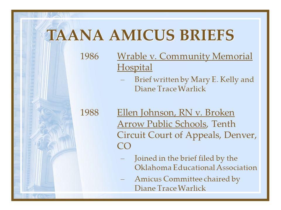 TAANA AMICUS BRIEFS 1986 Wrable v. Community Memorial Hospital