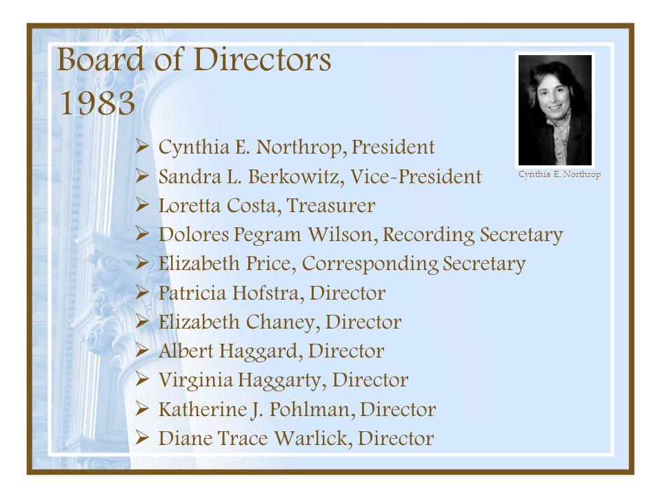 Board of Directors 1983 Cynthia E. Northrop, President