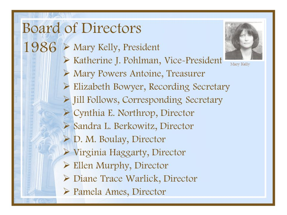 Board of Directors 1986 Mary Kelly, President