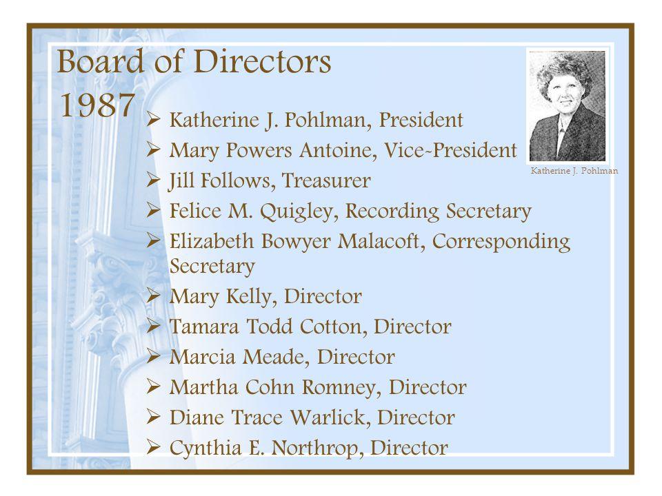 Board of Directors 1987 Katherine J. Pohlman, President