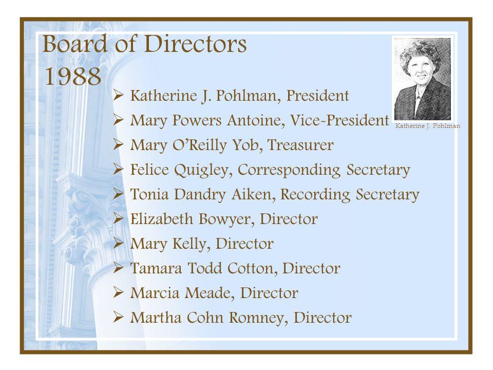 Board of Directors 1988 Katherine J. Pohlman, President