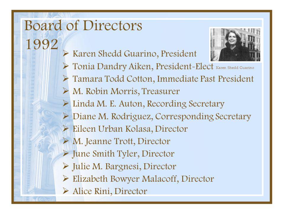 Board of Directors 1992 Karen Shedd Guarino, President