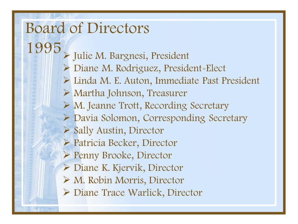 Board of Directors 1995 Julie M. Bargnesi, President