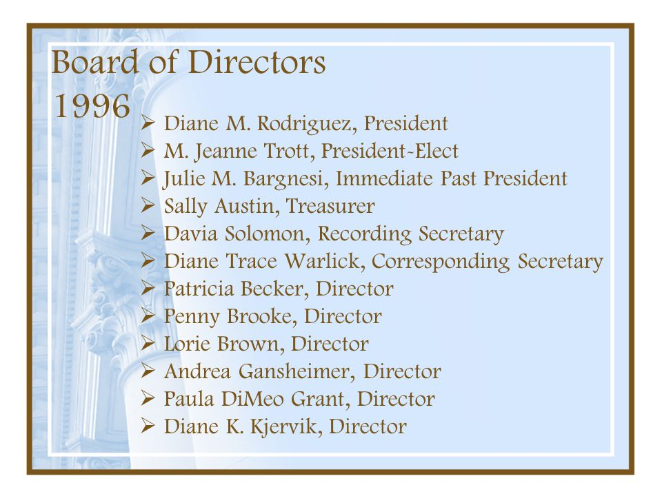 Board of Directors 1996 Diane M. Rodriguez, President