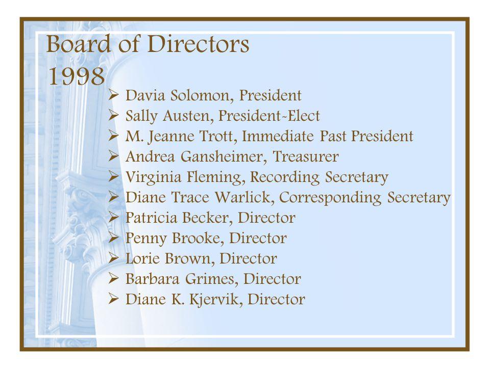 Board of Directors 1998 Davia Solomon, President