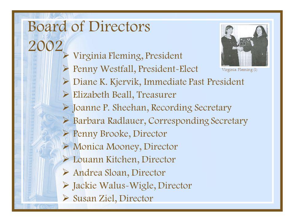 Board of Directors 2002 Virginia Fleming, President