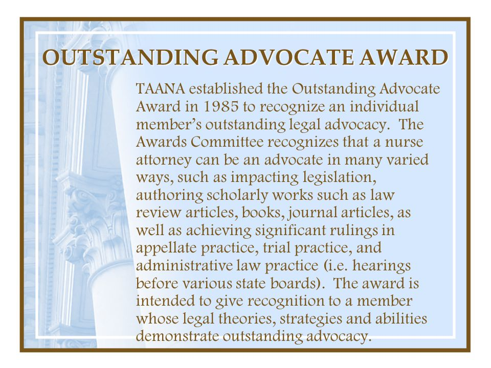 OUTSTANDING ADVOCATE AWARD