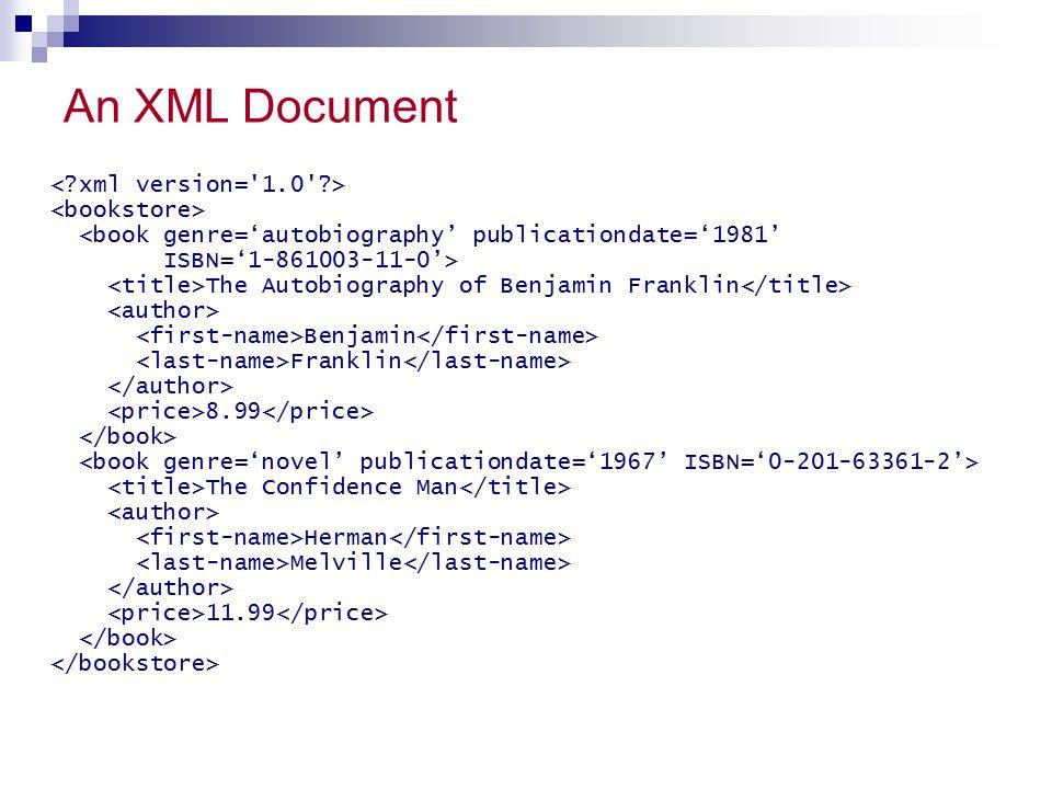 An XML Document < xml version= 1.0 > <bookstore>
