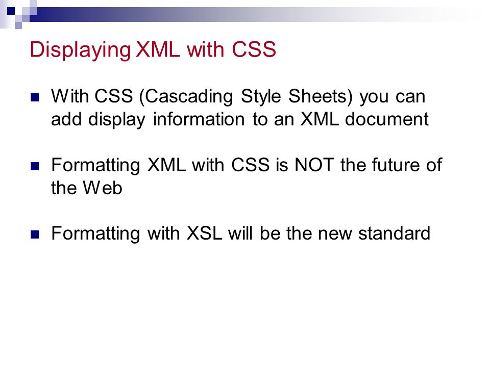 Displaying XML with CSS