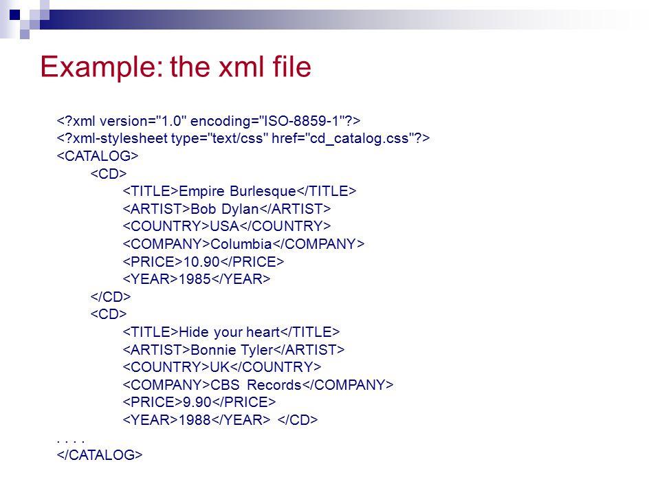 Example: the xml file < xml version= 1.0 encoding= ISO-8859-1 > < xml-stylesheet type= text/css href= cd_catalog.css >