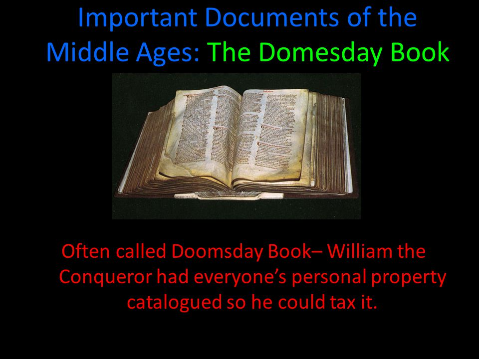 Important Documents of the Middle Ages: The Domesday Book