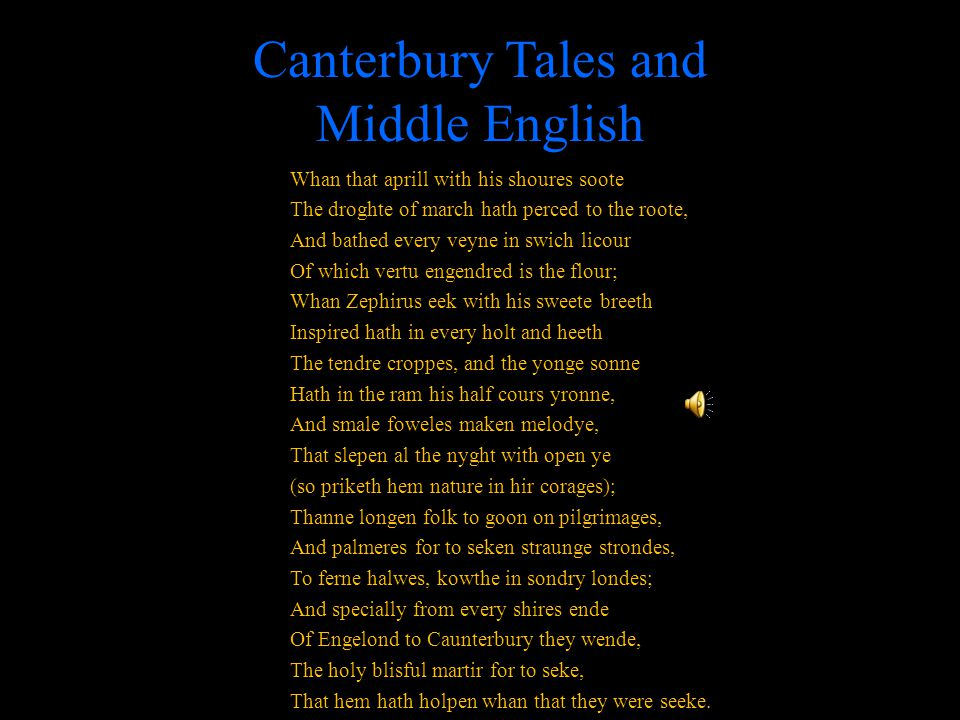 Canterbury Tales and Middle English