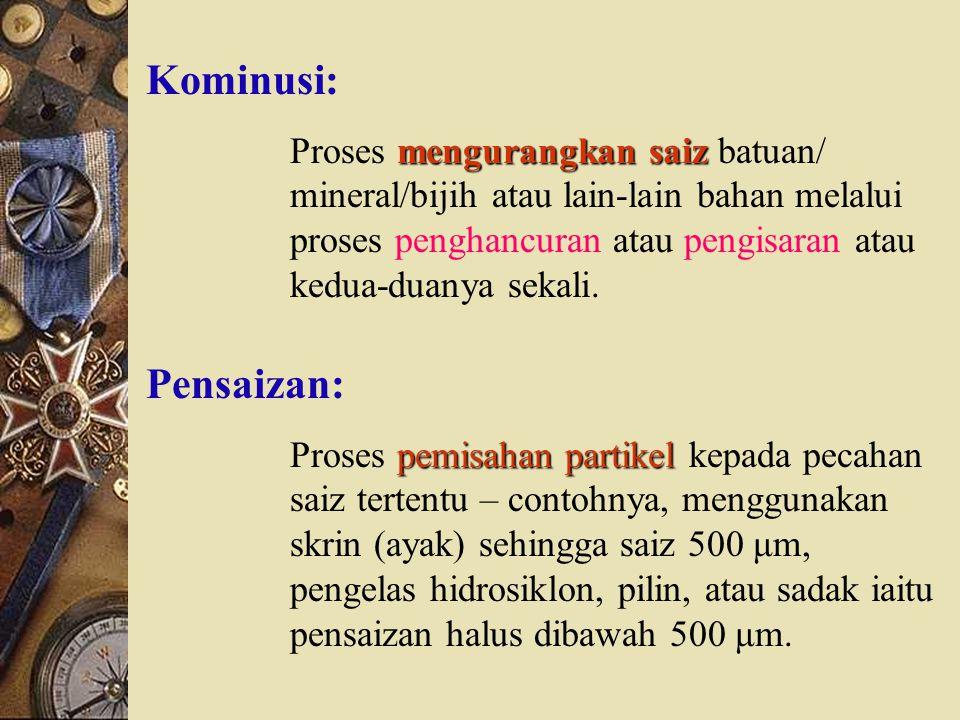Kominusi: Proses mengurangkan saiz batuan/ mineral/bijih atau lain-lain bahan melalui proses penghancuran atau pengisaran atau kedua-duanya sekali.