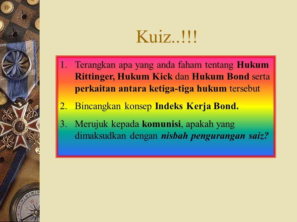 Kuiz..!!! Terangkan apa yang anda faham tentang Hukum Rittinger, Hukum Kick dan Hukum Bond serta perkaitan antara ketiga-tiga hukum tersebut.
