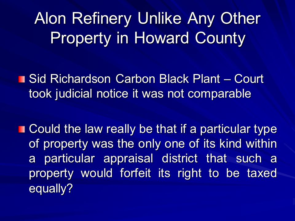 Alon Refinery Unlike Any Other Property in Howard County