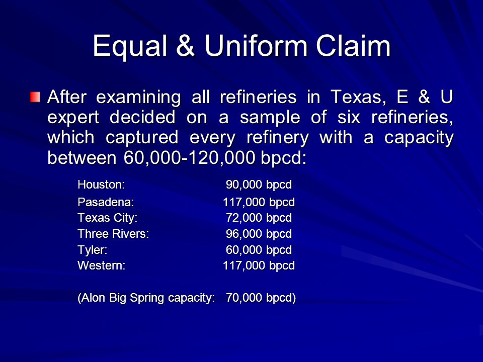 Equal & Uniform Claim