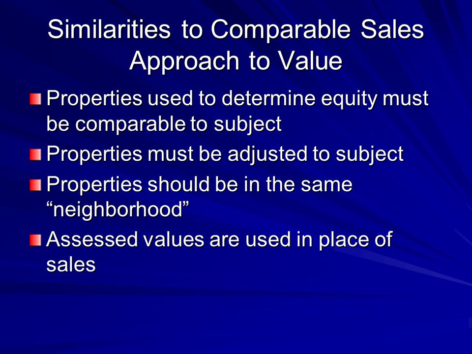 Similarities to Comparable Sales Approach to Value