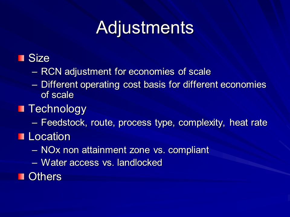Adjustments Size Technology Location Others